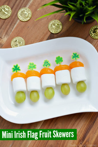 Mini Irish Flag Fruit Skewers for St. Patrick's Day