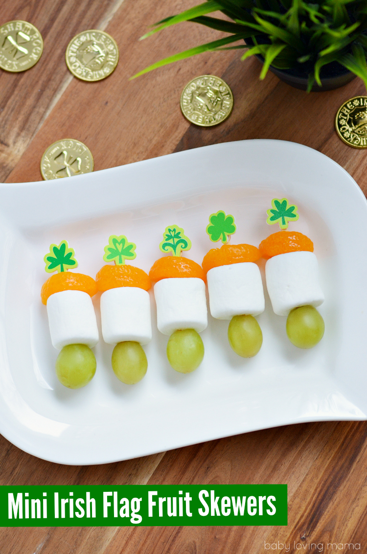 Mini Irish Flag Fruit Skewers for St Patricks Day