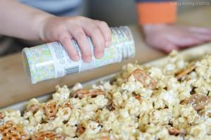 Adding Sprinkles to Marshmallow Popcorn