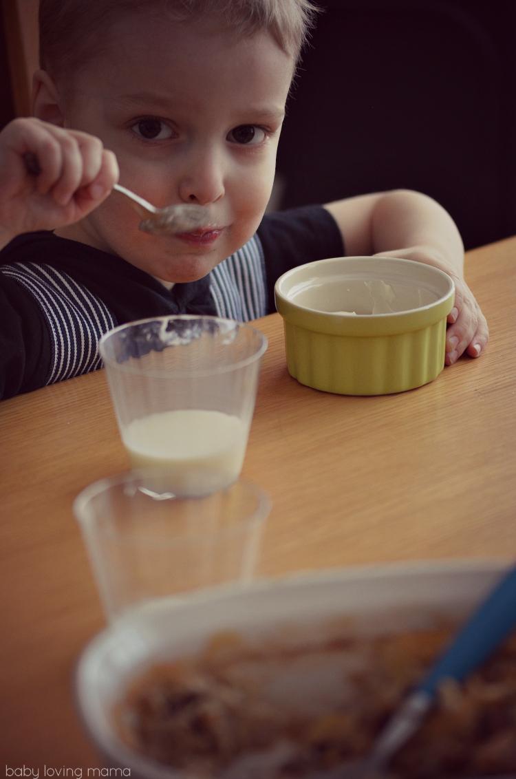 Eating Baked Oatmeal with Yogurt