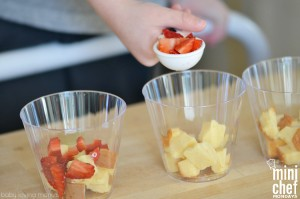 Making Strawberry Pound Cake Parfaits