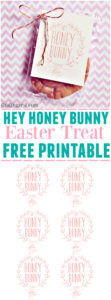"""This Easter treat free printable features """"Hey Honey Bunny"""". Free to download, this printable is perfect for a favor or Easter basket!"""