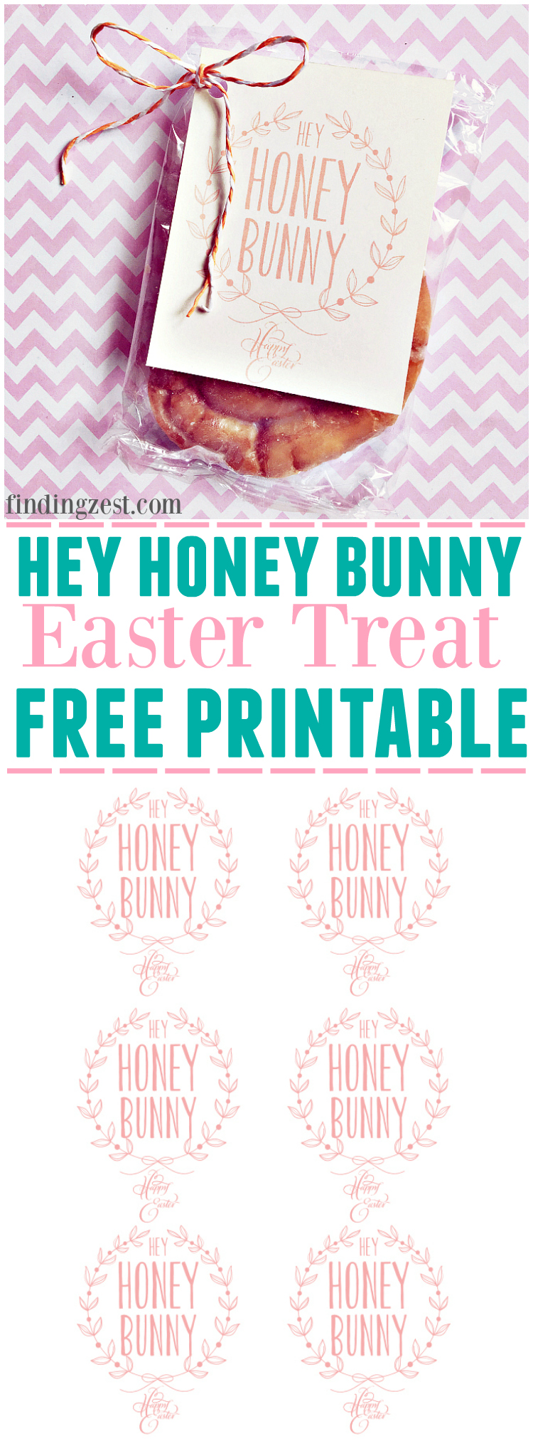 "This Easter treat free printable features ""Hey Honey Bunny"". Free to download, this printable is perfect for a favor or Easter basket!"