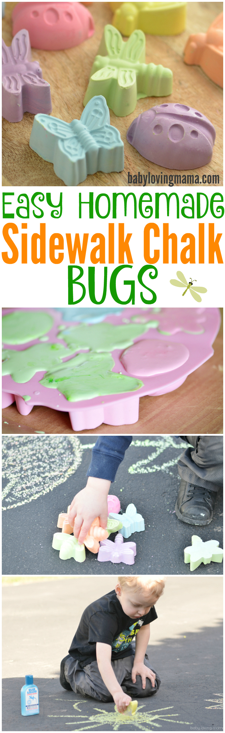 Learn how to make these Easy Homemade Sidewalk Chalk Bugs with just a few ingredients. Make a great outdoor summer activity for kids or party favors!