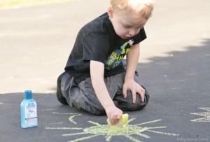 Making a Sun with Sidewalk Chalk