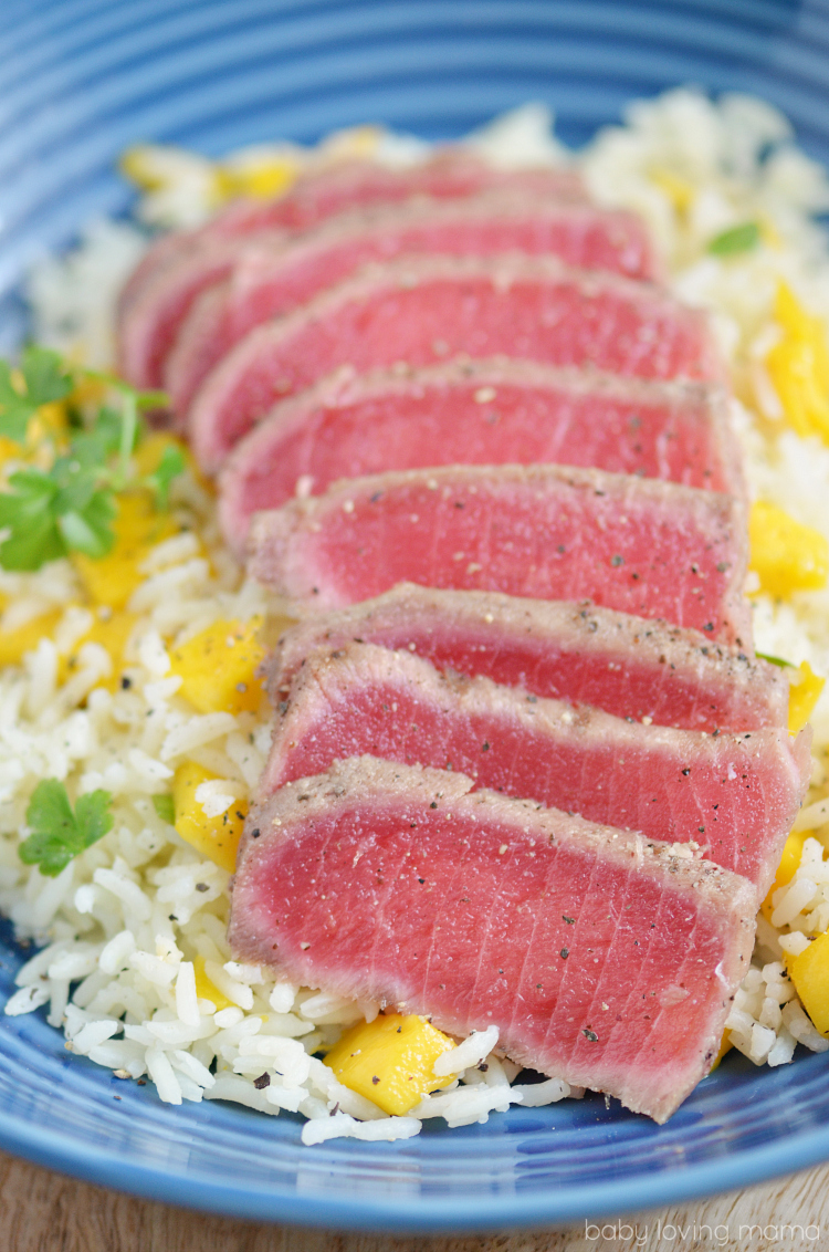 Mango Lemon Rice with Seared Ahi Tuna