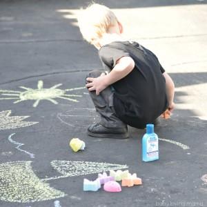 Playing with Sidewalk Chalk Bugs