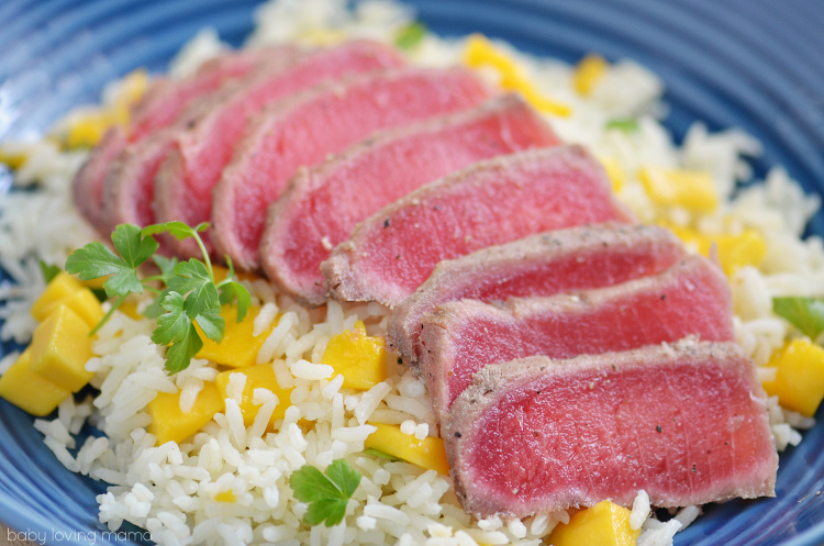 Seared Ahi Tuna with Mango Lemon Rice