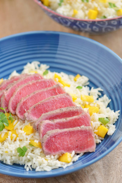 Seared Ahi Tuna with Mango Rice