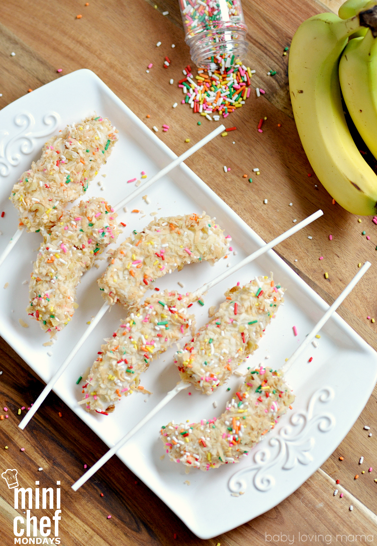Toasted Coconut Frozen Bananas on a Stick: Get over 75 great foods with sprinkles including fun party ideas, easy recipes, homemade, gluten free and more! Make every day feel like a party with these cakes, cupcakes, cookies, drinks, breakfast foods, snacks, frozen treats and more!