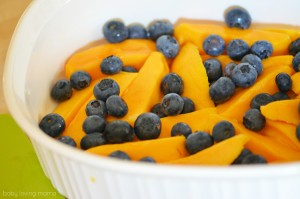 Baked Mangoes and Blueberries with Walnuts