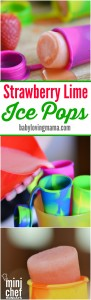 Homemade Strawberry Lime Ice Pops