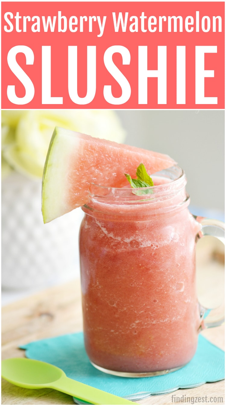 Cool off with this Strawberry Watermelon Slushie, a perfect summer drink and a great way to use up extra watermelon. Kids and adults will love this refreshing, non-alcoholic blender drink. Give it a try!