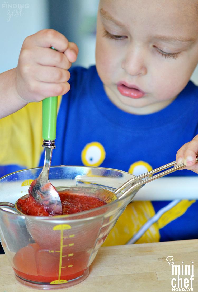 Making Strawberry Rhubarb Syrup for Lemonade