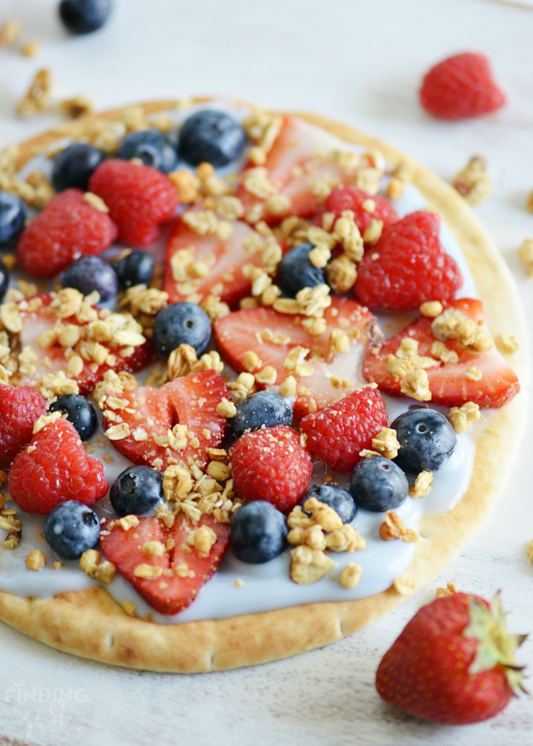 Fruit Yogurt Breakfast Pizza with Granola