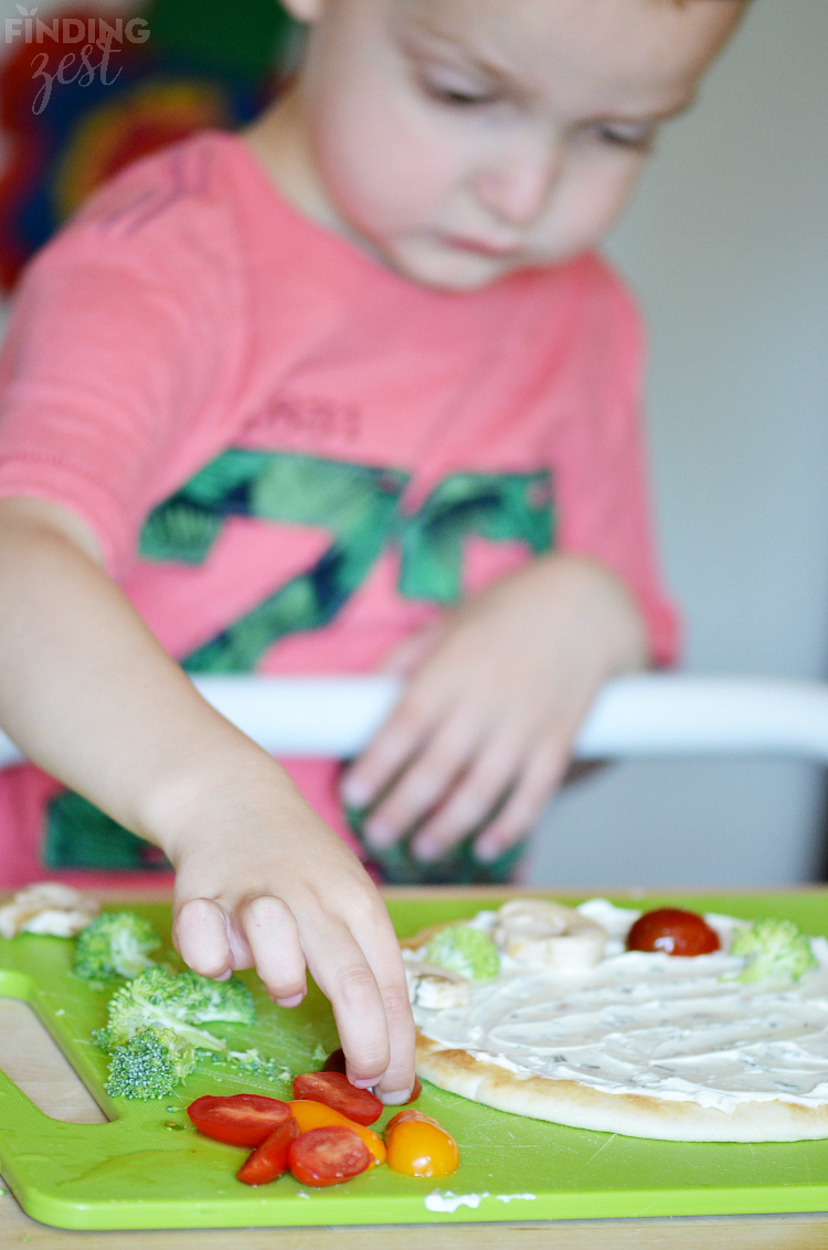Kid Friendly Veggie Flatbread Appetizer