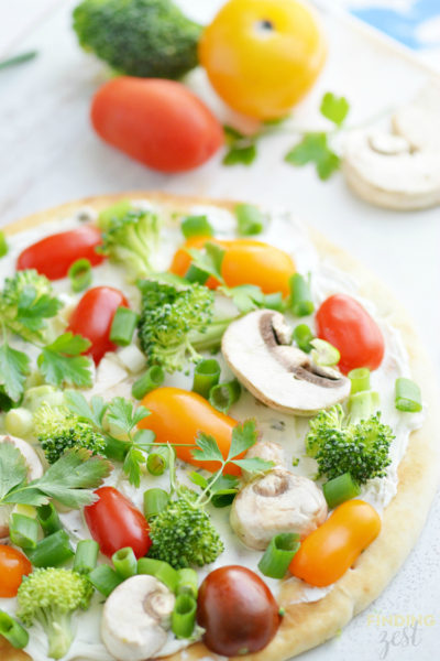 No Bake Veggie Flatbread Appetizer