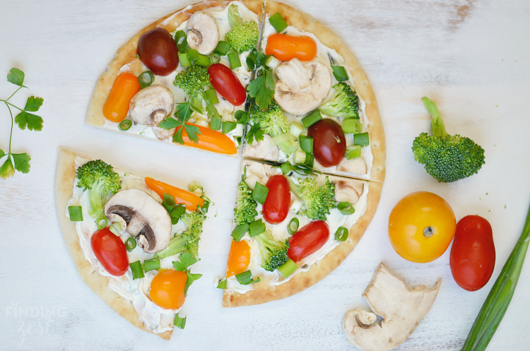 No Bake Veggie Flatbread Pizza Appetizer