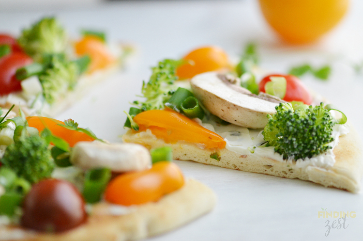 No Bake Veggie Flatbread Slice