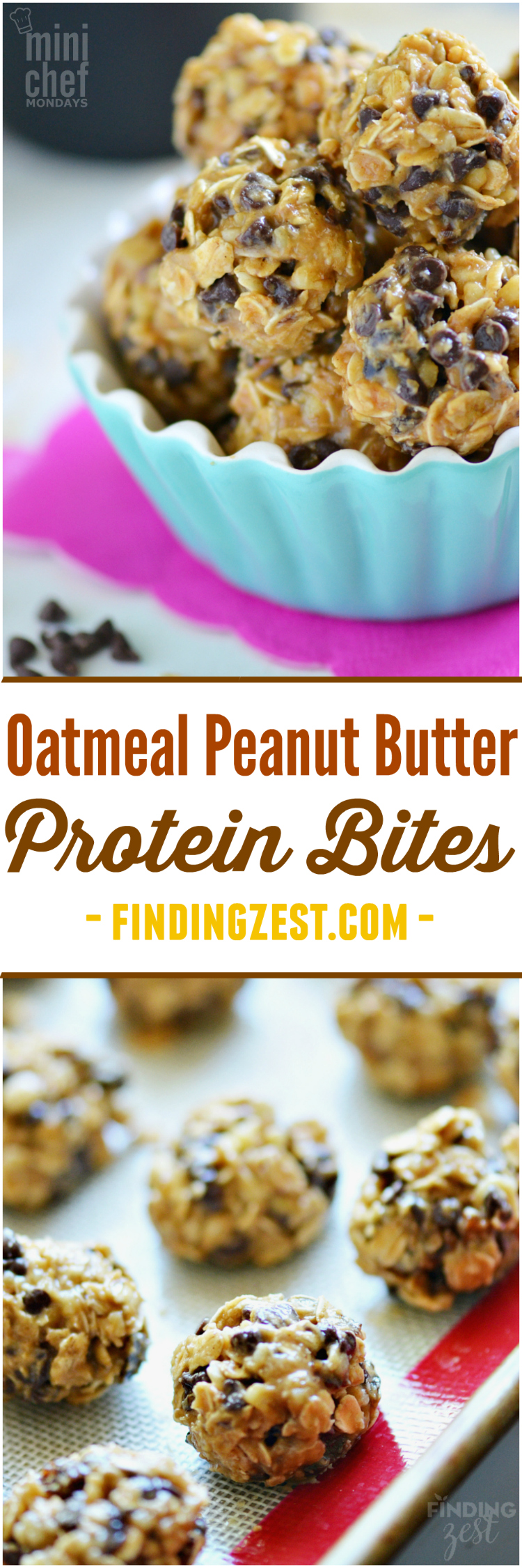 You'll definitely want to try making this no-bake Oatmeal Peanut Butter Protein Bites recipe! This kid friendly snack has oatmeal, peanut butter, walnuts, honey and chocolate chips, making it perfect for an afternoon pick me up, school lunch or make ahead breakfast to save time on busy mornings!