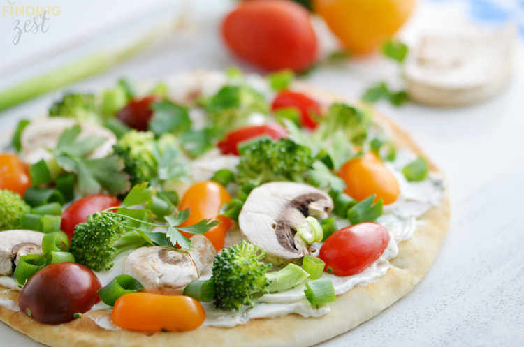 Veggie Cream Cheese Flatbread Appetizer