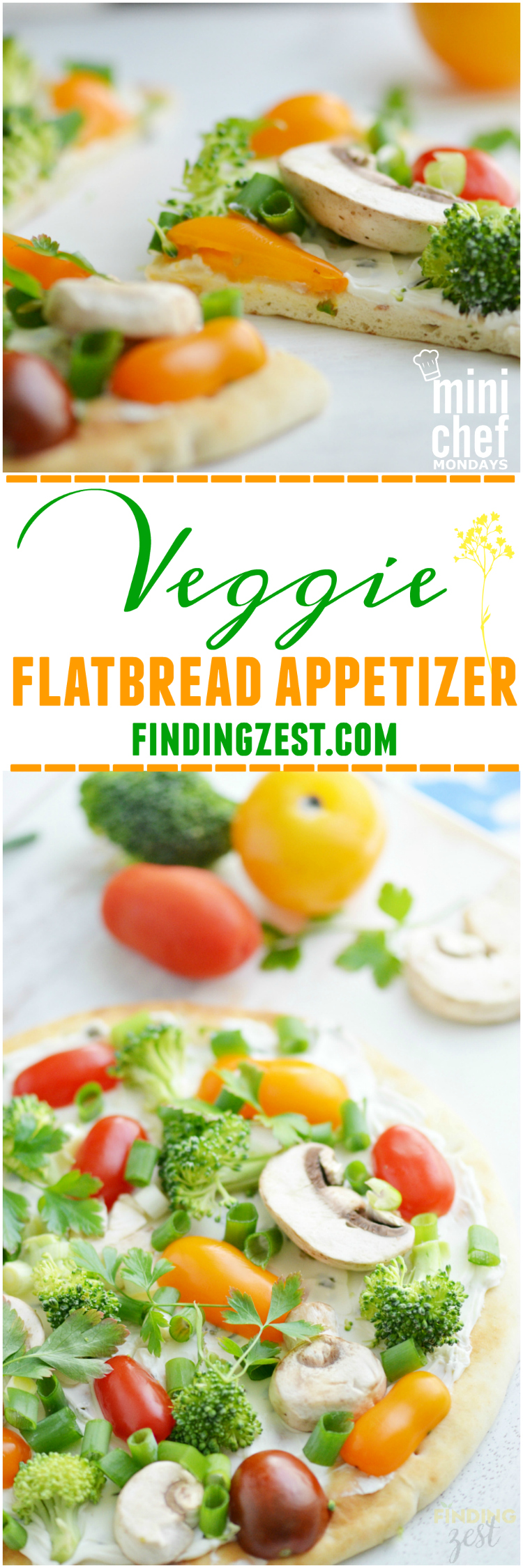 Veggie Flatbread Appetizer Pizza