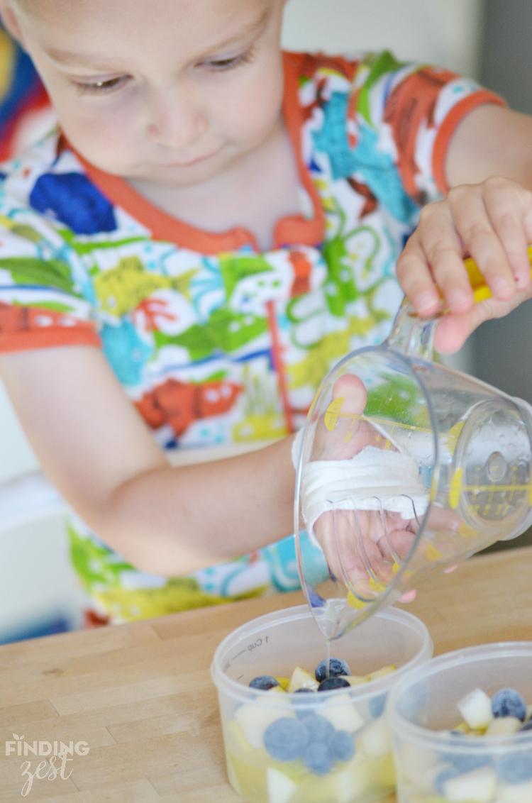 Adding liquid to fruit cups