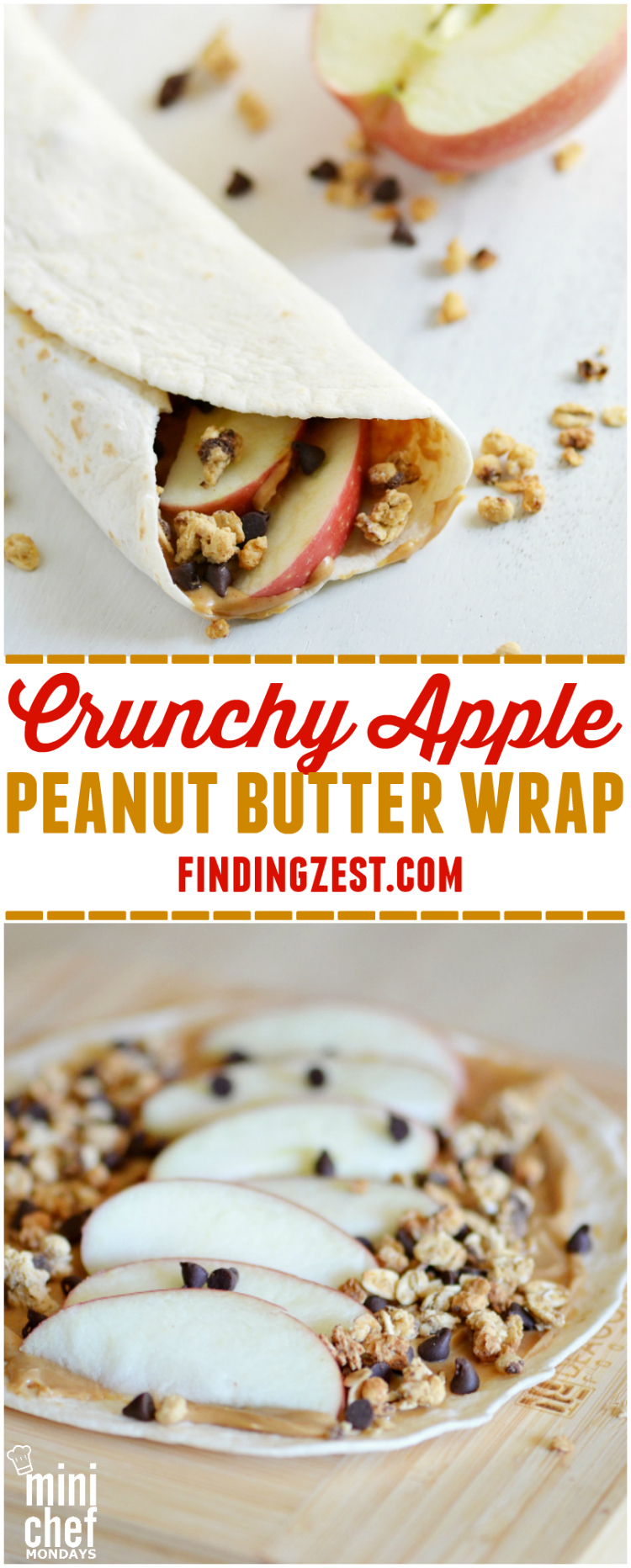 Enjoy this crunchy apple peanut butter wrap as a breakfast on the go, fun lunch option or hearty after school snack. It is protein packed. Kids will love this wrap for back to school!