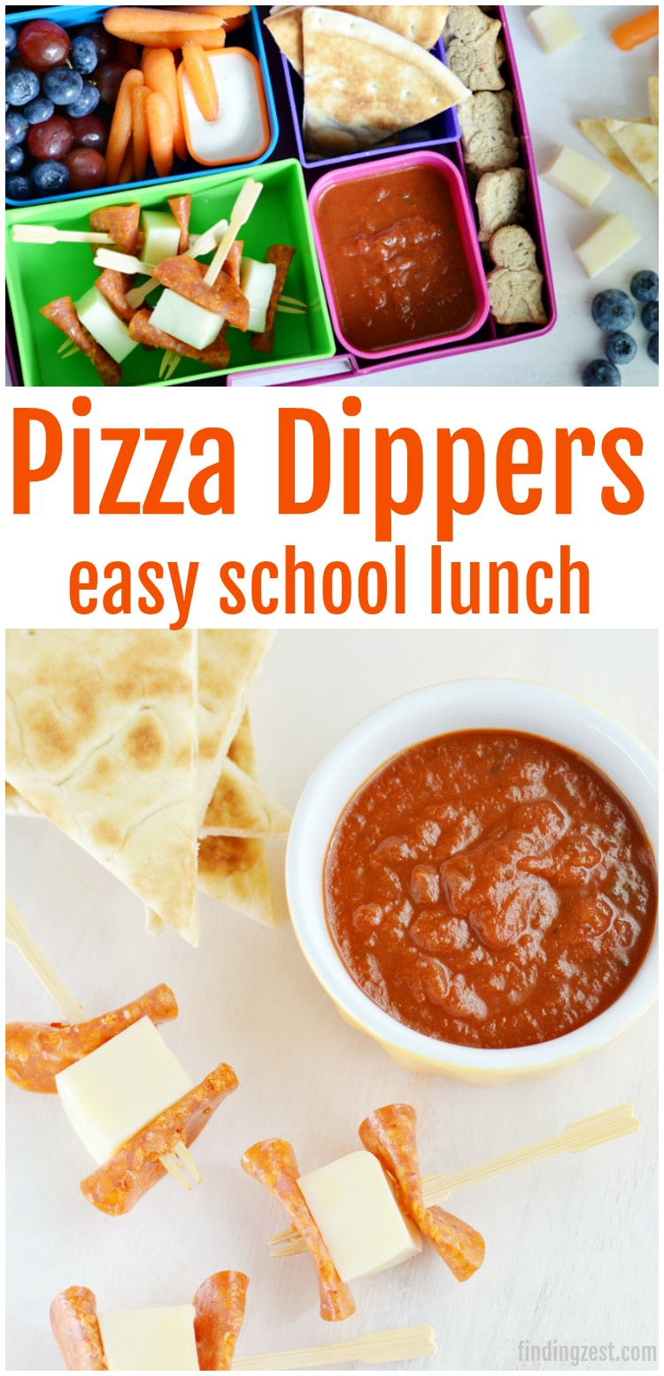These pizza dippers for school lunch is a quick an easy brown bag option. Featuring pepperoni, mozzarella, pizza sauce and flatbread, it is a great substitute for traditional pizza!