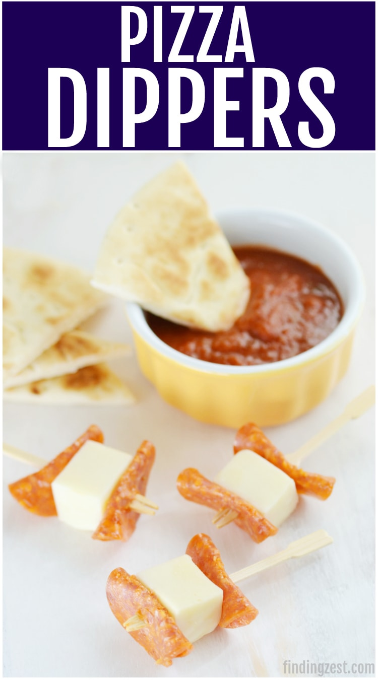These pizza dippers feature all the flavors you love in pizza. Makes a great after school snack, game day appetizer or easy school lunch option. Featuring pepperoni, mozzarella, pizza sauce and flatbread, it is a great substitute for traditional pizza!