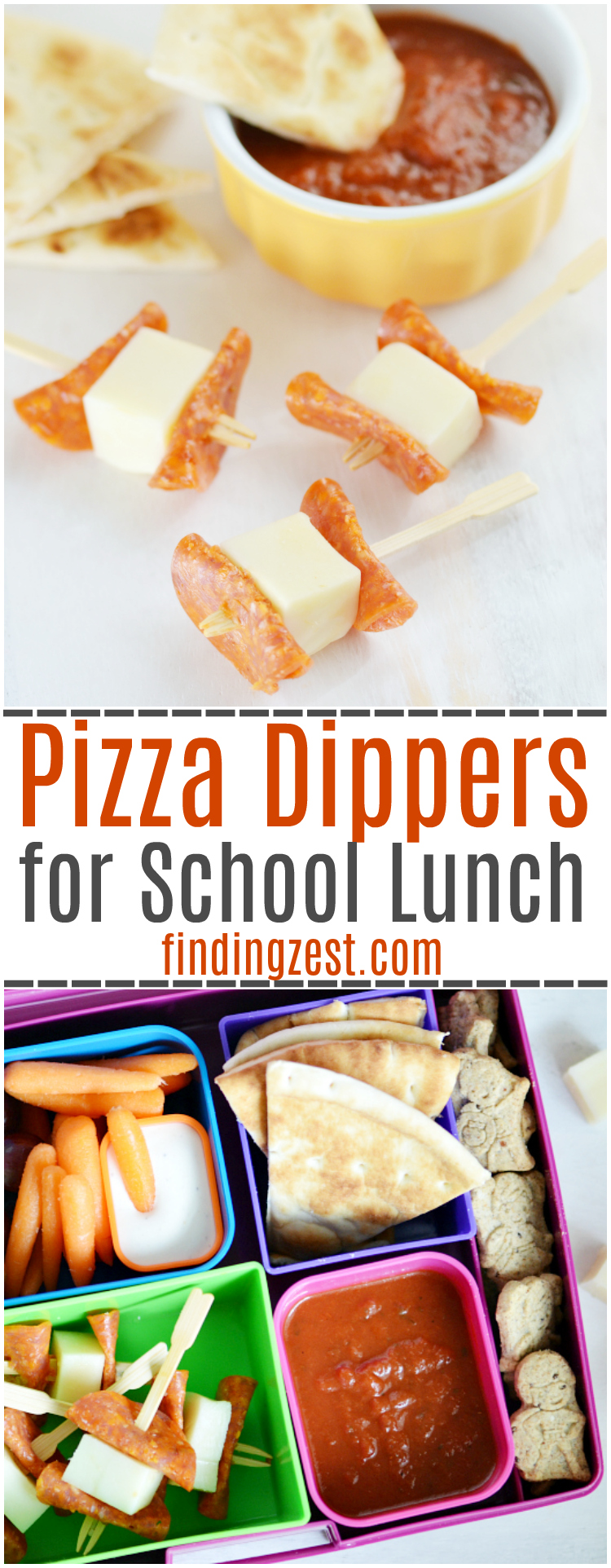 Looking for new kid-friendly lunch ideas? Try these pizza dippers for back to school, a quick no-bake option that offers the pizza taste you love. Also works great as a game day appetizer or after school snack.