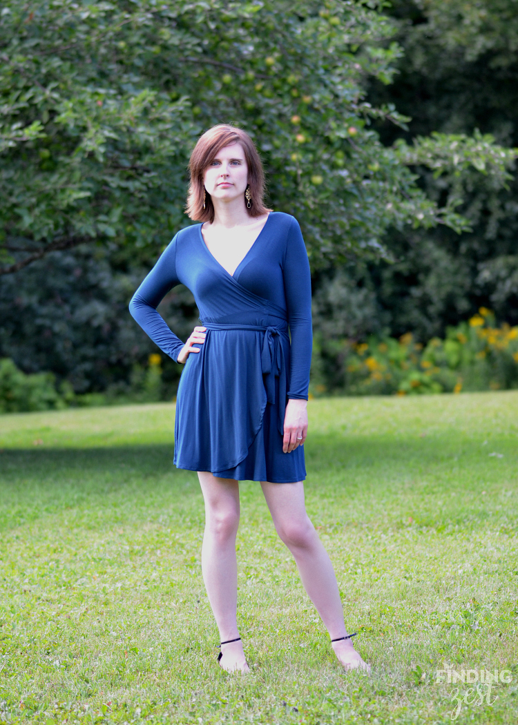 The Golden Tote Blue Wrap Dress