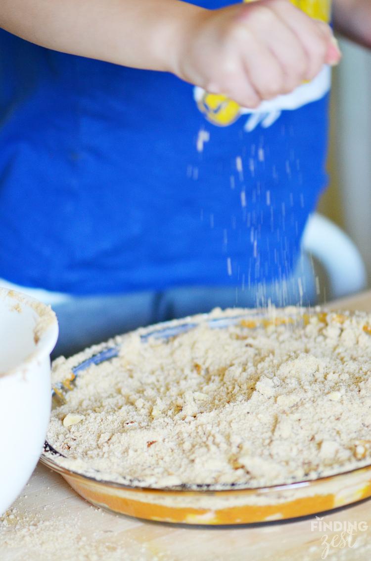 Adding Crumb Topping to Crustless Apple Pumpkin Pie