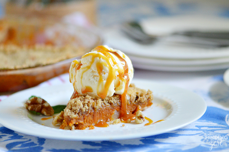 Caramel Apple Pumpkin Pie with  Ice Cream