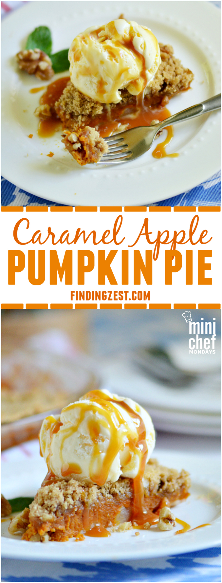 Combine two great flavors of fall in this Caramel Apple Pumpkin Pie. This crustless pumpkin pie is perfect for Thanksgiving dessert! Serve this pie topped with ice cream and caramel topping for a show-stopping crowd favorite!