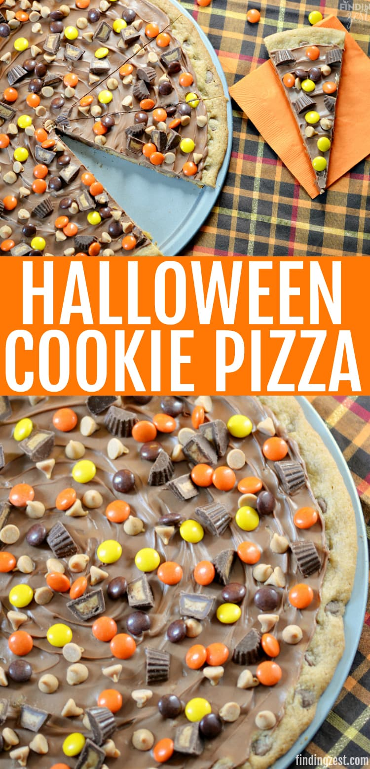 This Halloween Cookie Pizza features a chocolate chip cookie base and is topped with peanut butter, chocolate and candies. Trust me, this fall dessert is a show stopper and perfect for your Halloween party or a great way to use up that Halloween candy!
