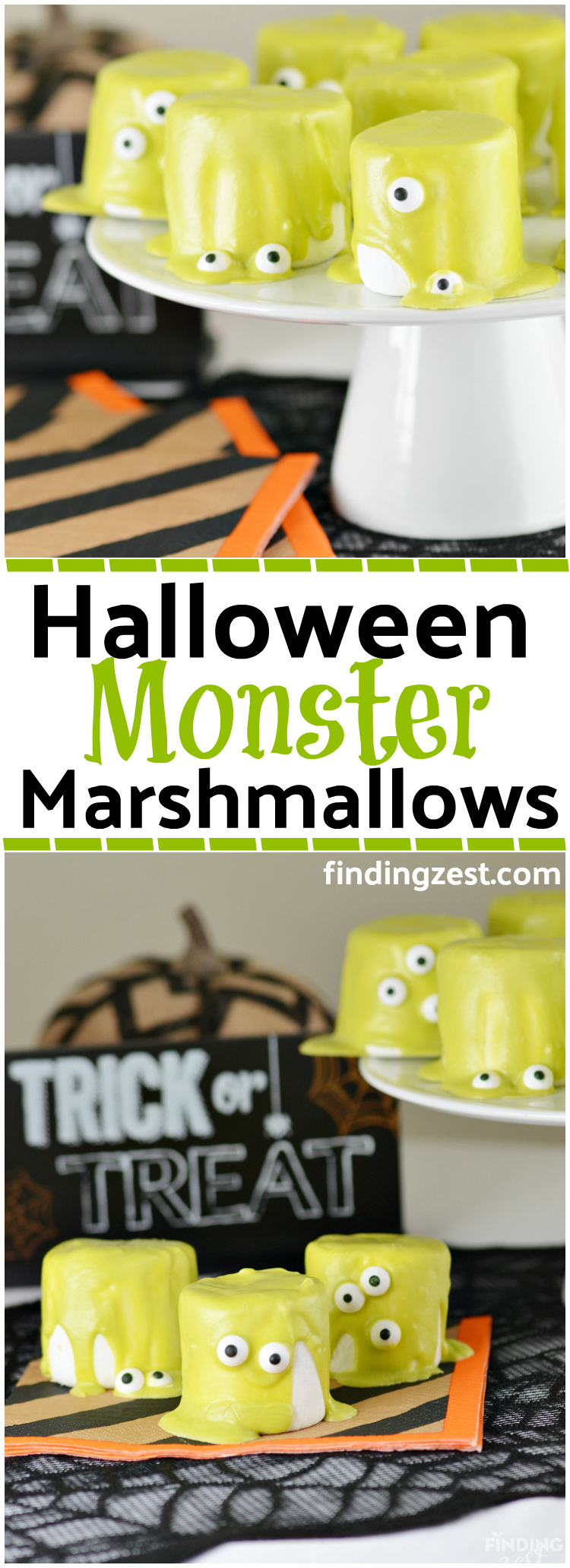 These slime Halloween Monster Marshmallows are a fun no-bake Halloween treat. These are so easy to make and kids will love the eyes that slide down!
