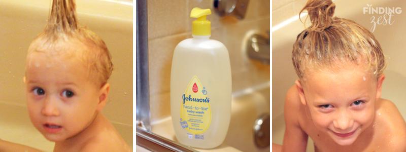 Johnson's lotion wash bath time fun hair