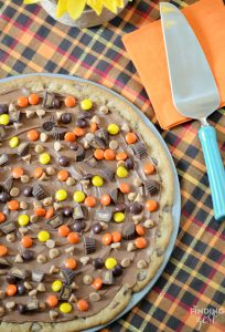 Peanut Butter Chocolate Chip Cookie Pizza for Fall