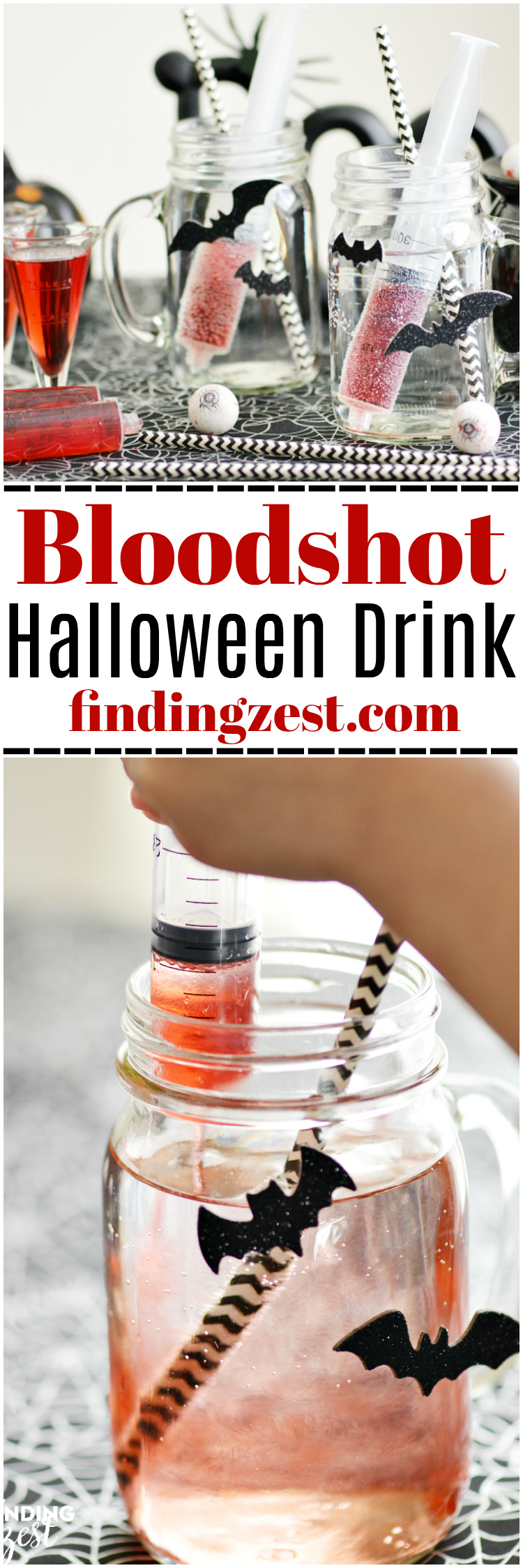 This Bloodshot Halloween Drink for Kids is a fun and healthy option with no added sugar or artificial dyes! Perfect for a Halloween party or just for fun!