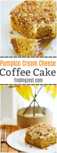 This homemade Pumpkin Cream Cheese Coffee Cake is a great brunch or breakfast for fall, including Thanksgiving!