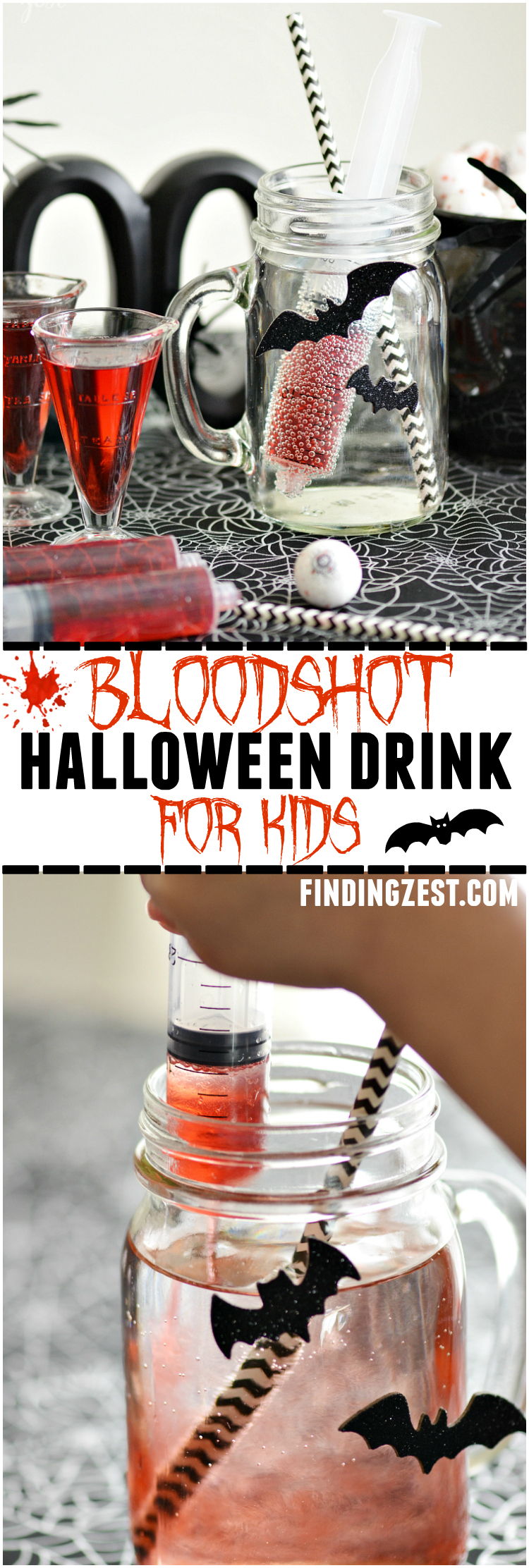 This Bloodshot Halloween Drink for Kids is a fun and healthy option with no added sugar or artificial dyes! Perfect for entertaining or just because!