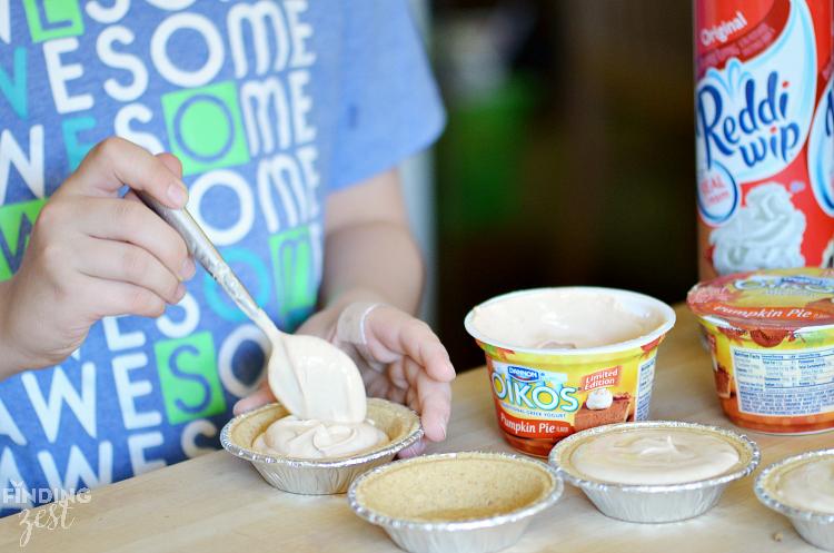 Making Mini Pumpkin Pies with Yogurt