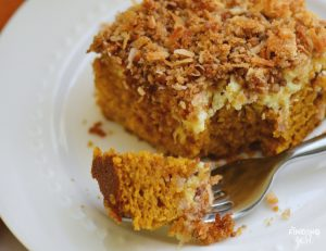 Pumpkin Cream Cheese Coffee Cake with Coconut Topping