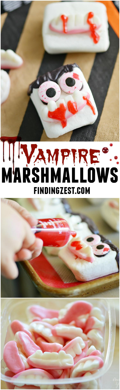 Halloween Vampire Marshmallows. An easy, no bake Halloween dessert!