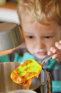 Wes Adding Pumpkin to Coffee Cake