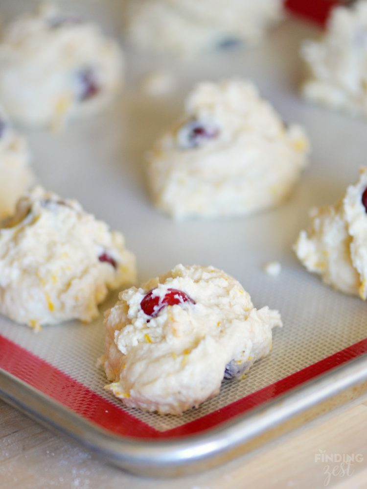 Cranberry Orange Drop Biscuits Ready for Oven