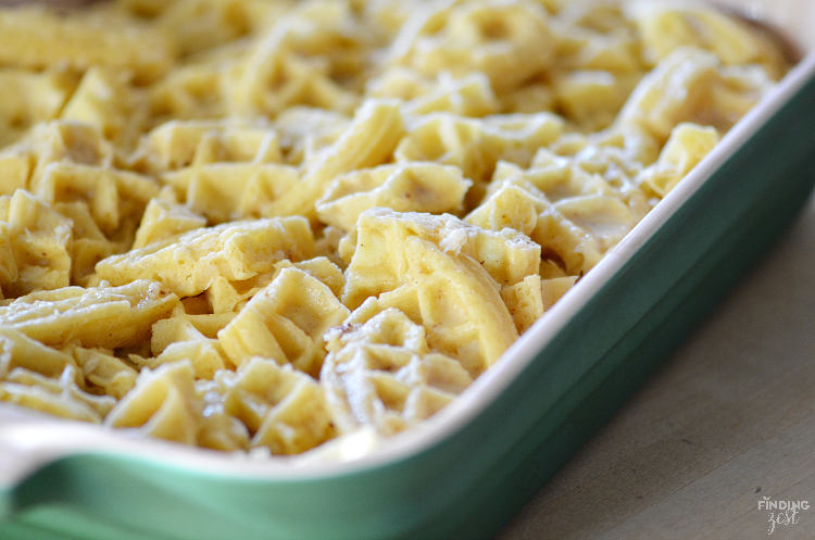 This easy Overnight Eggnog Waffle Casserole is the perfect breakfast for Christmas morning!