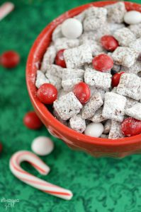 This easy Peppermint Puppy Chow is a perfect holiday treat and great for feeding a crowd and homemade gifts.