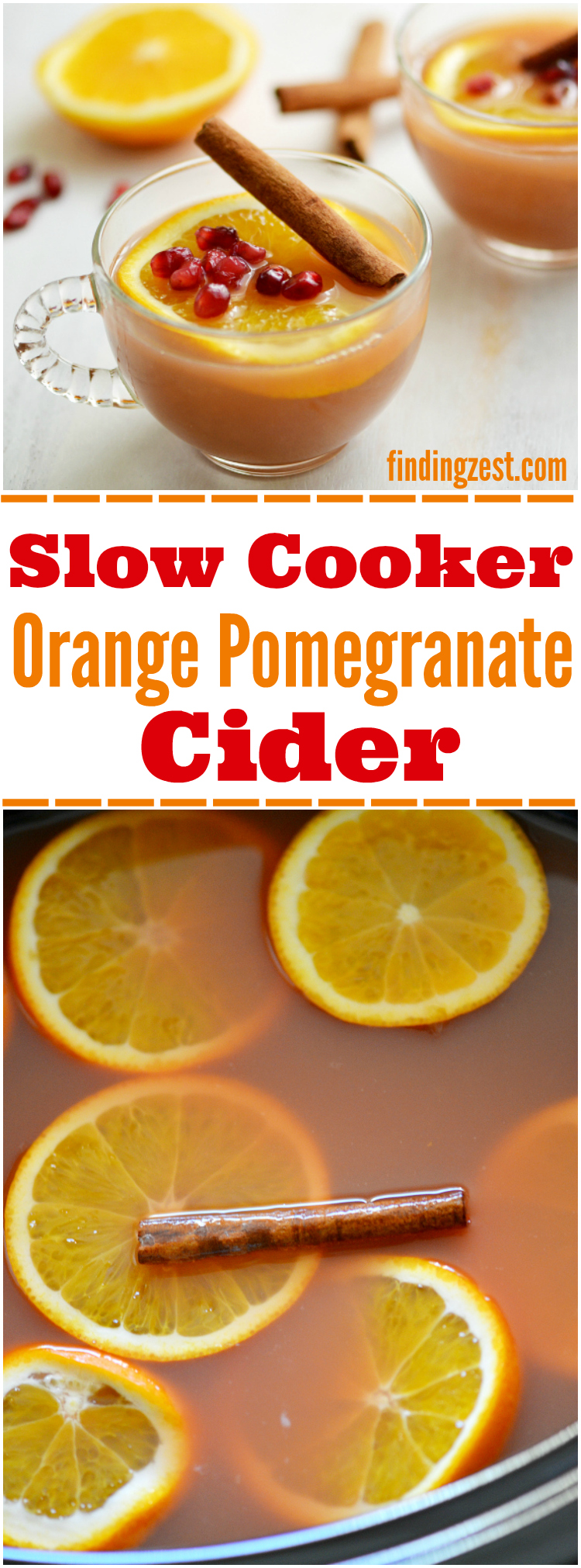 This Slow Cooker Orange Pomegranate Cider is a perfect holiday drink to serve guests and will leave your house smelling amazing. Offer a spin on classic cider with this delicious and easy crockpot apple cider!